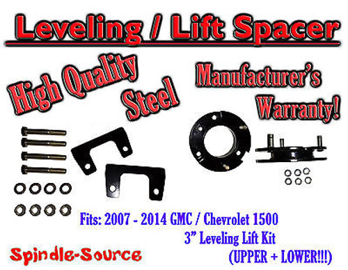 """07 - 14 Chevy GMC Trucks and SUVs 3"""" Lifting Leveling Strut Spacer Kit STEEL!"""