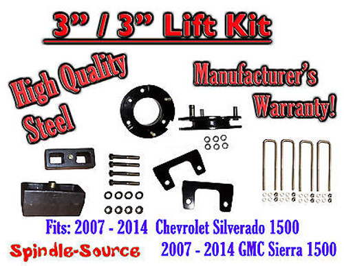 "07 - 2014 Chevy Silverado GMC Sierra 1500 3"" Front 3"" Rear FULL Lift Kit 3""/3"""