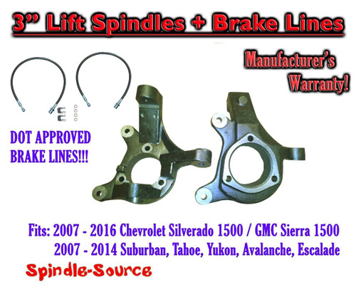 """07-14 Suburban Yukon Tahoe 2WD 3"""" Lift Spindles Knuckles DOT APPROVED BRAKE LINE"""