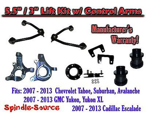 """07 -13 Chevy SUV 5.5"""" / 3"""" FULL LIFT KIT 2WD Spindles +Tubular UPPER CONTROL ARM"""