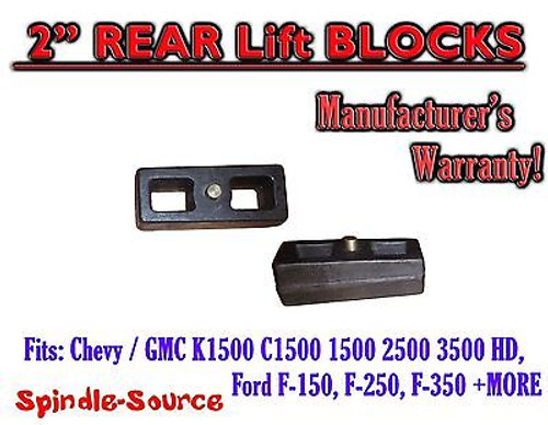 """1 Set Cast 2"""" TAPERED Lift Blocks Chevy GMC K C 1500 2500 3500 Ford F150 + MORE"""