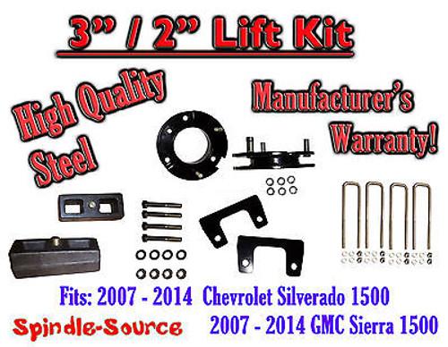 "07 - 2014 Chevy Silverado GMC Sierra 1500 3"" Front 2"" Rear FULL Lift Kit 3""/2"""