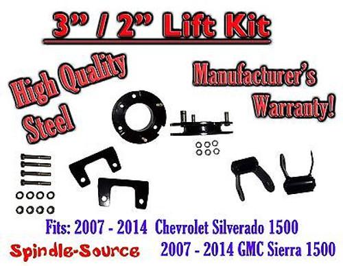 "07 - 2014 Chevy Silverado GMC Sierra 1500 3"" F 2"" R FULL Kit Spacer + Shackles"