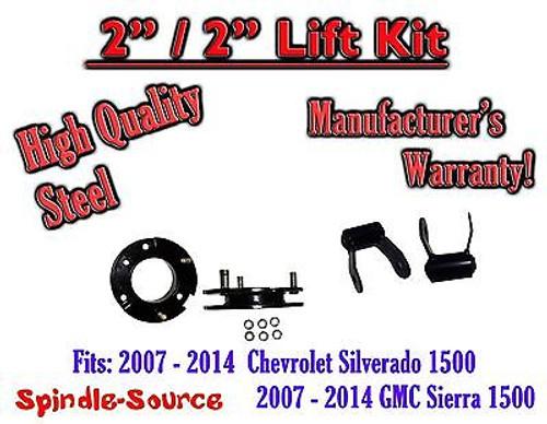 "07 - 2014 Chevy Silverado GMC Sierra 1500 2"" F 2"" R FULL Kit Spacer + Shackles"