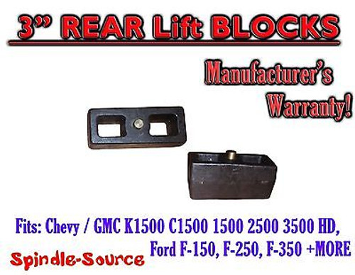 """1 Set Cast 3"""" TAPERED Lift Blocks Chevy GMC K C 1500 2500 3500 Ford F150 + MORE"""