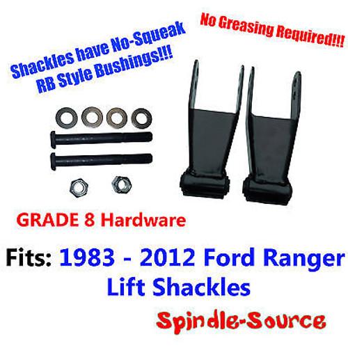 """1"""" 2"""" Lift Shackles 1983 - 2012 Ford Ranger RB Style Bushing GRADE 8 Hardware"""