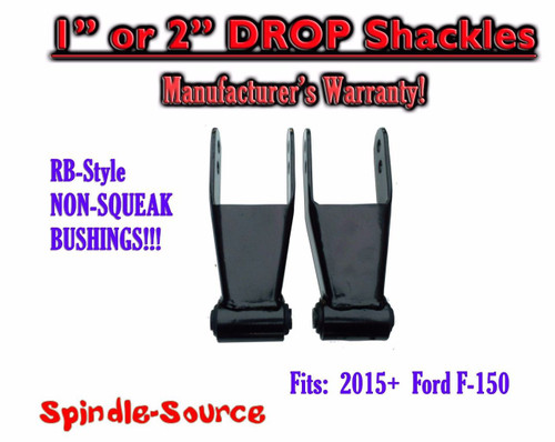 """1"""" 2"""" Drop Lowering Shackles SET 2015 - 2016+ Ford F150 F-150 RB Silent Bushings"""