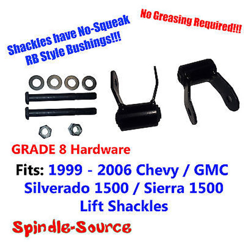 "1.75"" REAR Lift Shackles SET Chevy 99 - 06 Silverado GMC Sierra RB Style GRADE 8"