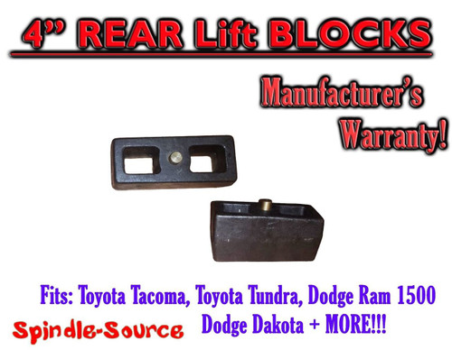 "1 Set of Cast 4"" TAPERED Lift Blocks Toyota Tacoma Tundra Dodge RAM Dakota"