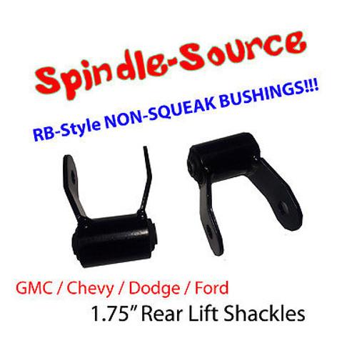 "1.75"" REAR Lift Shackles SET Chevy GMC 88 - 2013 SHORT SHACKLE RB Style Bushing"