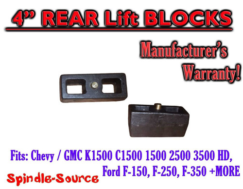 """1 Set Cast 4"""" TAPERED Lift Blocks Chevy GMC K C 1500 2500 3500 Ford F150 + MORE"""