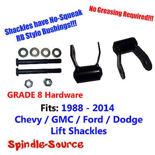 "1.75"" REAR Lift SHORT Shackles SET Chevy GMC 88 - 2014 RB Bushing, GRADE 8 KIT"