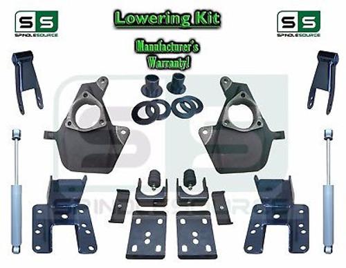 """16-18 Silverado Sierra 3"""" / 4"""" Drop Lowering Spindle KIT STAMPED / ALUM + SHOCKS"""