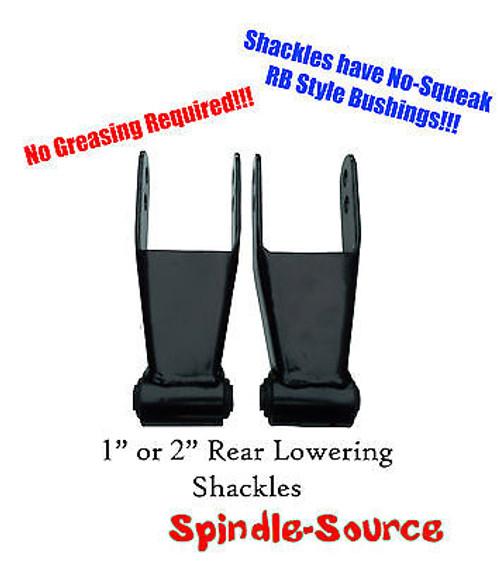 """1"""" 2"""" Lowering Shackles SET Chevy 88 - 12 Silverado GMC Sierra RB Style Bushing"""