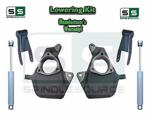 """16-18 Silverado Sierra 2"""" / 2"""" Drop Lowering Spindle KIT STAMPED /ALUM + SHOCKS"""