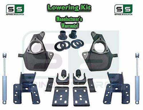 """16-18 Silverado Sierra 3"""" / 5"""" Drop Lowering Spindle KIT STAMPED / ALUM + SHOCKS"""