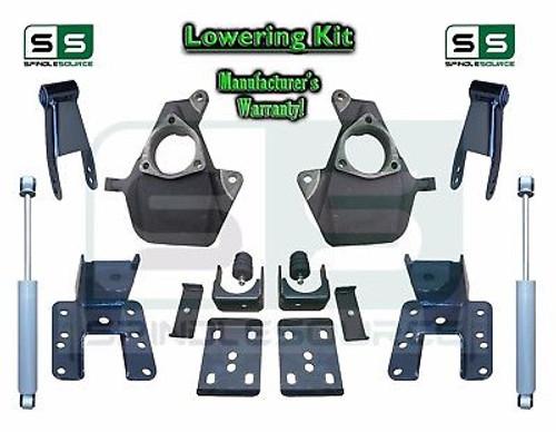 """16-18 Silverado Sierra 2"""" / 4"""" Drop Lowering Spindle KIT STAMPED / ALUM + SHOCKS"""
