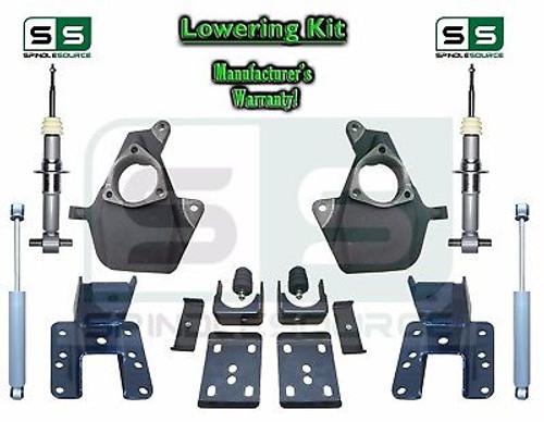 16-18 Silverado Sierra 3/5 Drop Lowering KIT STAMPED / ALUM ARMS 3/5 STRUTS SHOCKS