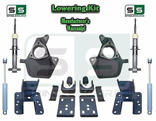 16-18 Silverado Sierra 3/5 3/6 4/6 Drop Lowering KIT ALUM STAMPED ARM STRUT SHOCK