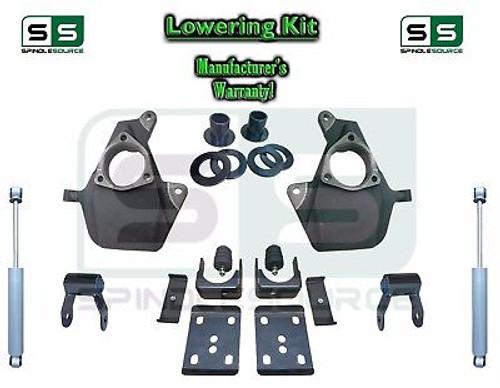 16-18 Silverado Sierra 4/6 Drop Lowering KIT Shackles STAMPED / ALUM ARM SHOCKS