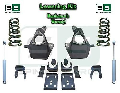 16-18 Silverado Sierra 4/6 Lowering DROP KIT STAMPED / ALUM ARMS Coils V6 SHOCKS