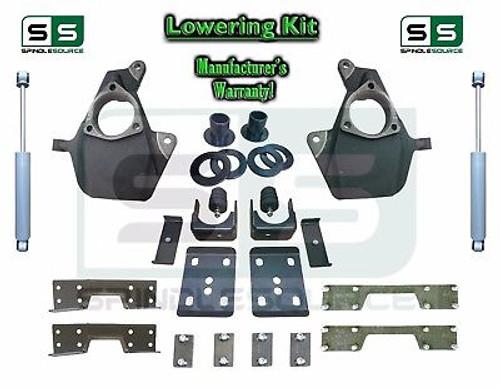 "16-18 Silverado Sierra 4"" / 7"" Drop Lowering KIT STAMPED / ALUM ARMS SHOCKS NOTCH"