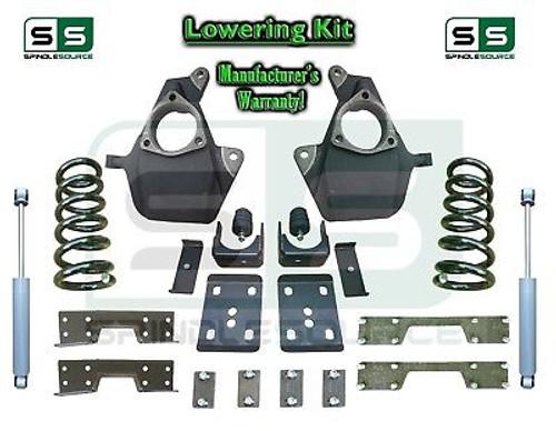 16-18 Silverado Sierra 4/7 Lowering DROP KIT STAMPED / ALUM ARMS V8 SHOCKS + NOTCH