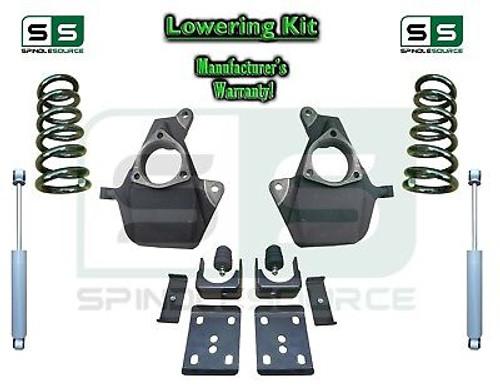 16-18 Silverado Sierra 5/7 Lowering DROP KIT STAMPED / ALUM ARMS Coils V6 SHOCKS