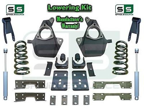 16-18 Silverado Sierra 5/8 Lowering DROP KIT STAMPED / ALUM ARMS V6 SHOCKS + NOTCH