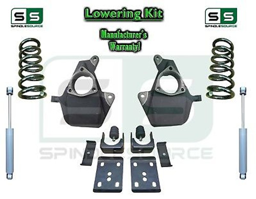 16-18 Silverado Sierra 5/7 Lowering DROP KIT STAMPED / ALUM ARMS Coils V8 SHOCKS