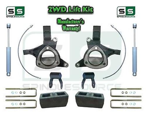 "15+ Silverado Sierra 1500 2WD 5"" Lift Spindle Kit Shackle Shocks STAMPED ALUM"