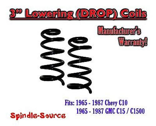 "1965-1987 Chevrolet GMC C10 C15 3"" Lowering Drop Coils Springs 65-87 73-87 65-72"