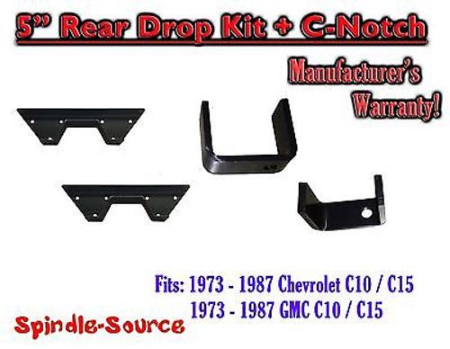 """1973 - 1987 Chevrolet Chevy GMC C10 C15 C1500 5"""" Flip kit + C-Notch 73-87"""