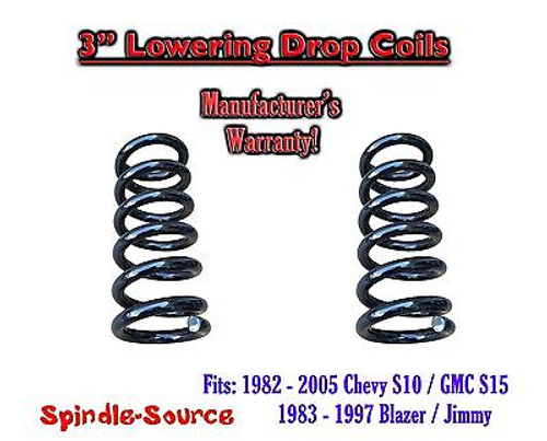 """1982 - 2005 Chevy GMC S10 S15 Jimmy 4Cyl. EXT 3"""" Lowering Drop Coils Springs Kit"""