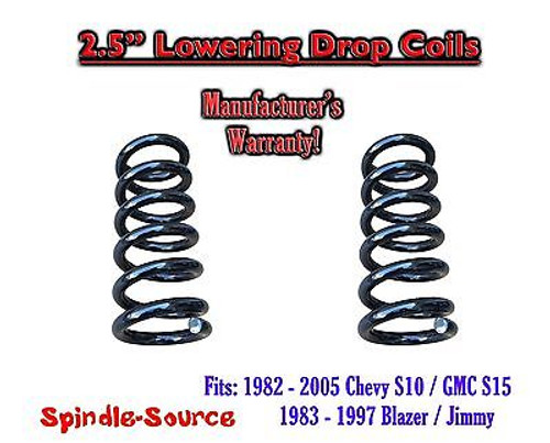 """1982 - 2005 Chevy GMC S10 S15 Jimmy V6 EXT 2.5"""" Lowering Drop Coils Springs Kit"""