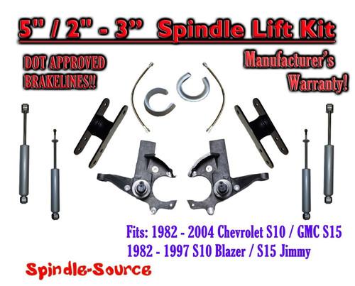 "1982 -05 Chevy S-10 S10 GMC S-15 Sonoma Blazer 5"" / 2-3"" Lift Kit Brakes Shocks"