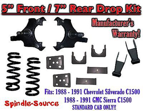 """1988 - 1991 Chevrolet GMC C1500 5"""" / 7"""" Drop Lowering Kit 5/7 STANDARD CAB ONLY"""