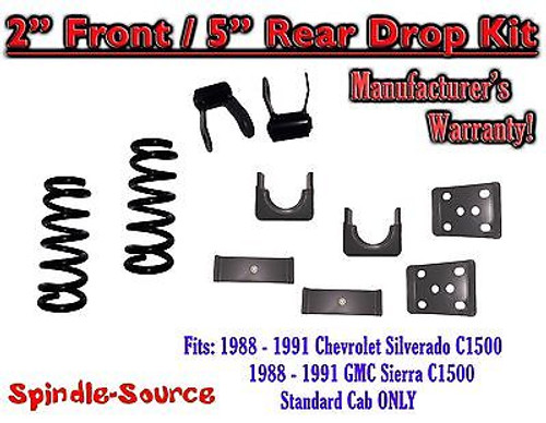 """1988 - 1991 Chevrolet GMC C1500 2"""" / 5"""" Drop Lowering Kit 2/5 STANDARD CAB ONLY"""