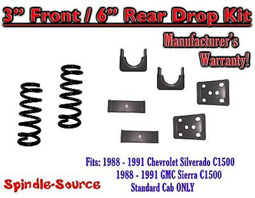 """1988 - 1991 Chevrolet GMC C1500 3"""" / 6"""" Drop Lowering Kit 3/6 STANDARD CAB ONLY"""