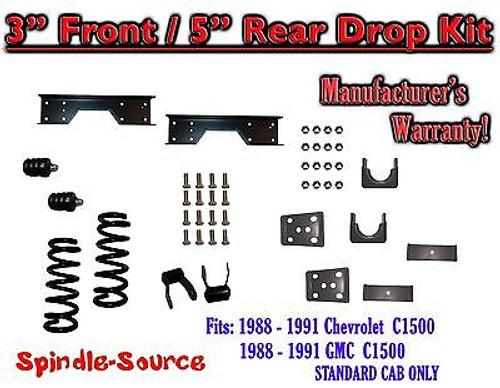 "1988 - 1991 Chevy GMC C1500 3"" / 5"" Drop Lowering Kit 3/5 STANDARD CAB + NOTCH"