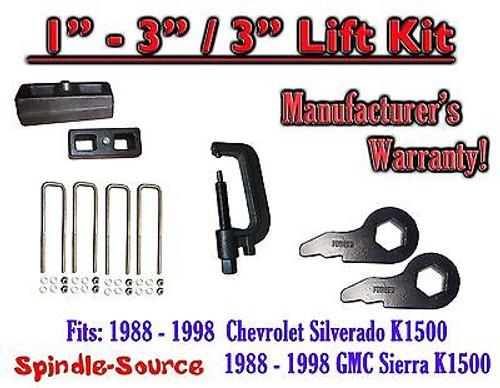"1988 - 1998 Chevrolet GMC 1500 Torsion Level 3"" FORGED KEYS + 3"" Blocks + TOOL"