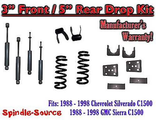 "1988 - 1998 Chevrolet GMC C1500 3"" front 5"" rear Drop Lowering Kit 3/5 + SHOCKS"