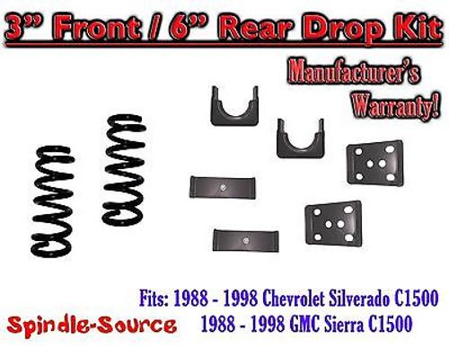"1988 - 1998 Chevrolet GMC C1500 3"" front / 6"" rear Drop Lowering Kit 3/6 88 - 98"