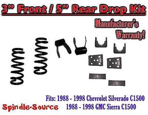 "1988 - 1998 Chevrolet GMC C1500 3"" front / 5"" rear Drop Lowering Kit 3/5 88 - 98"