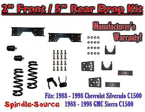 "1988 - 1998 Chevrolet GMC C1500 2"" front / 5"" rear Drop Lowering Kit 2/5 + NOTCH"