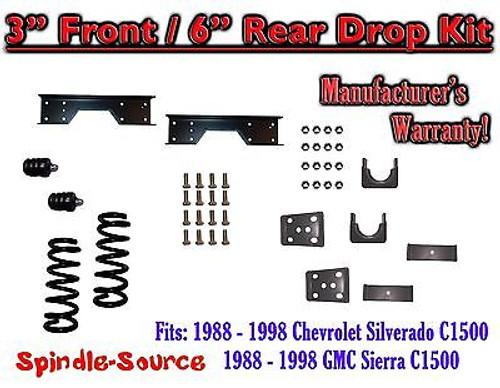 "1988 - 1998 Chevrolet GMC C1500 3"" front / 6"" rear Drop Lowering Kit 3/6 + NOTCH"
