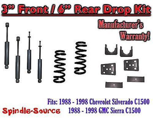 "1988 - 1998 Chevrolet GMC C1500 3"" front 6"" rear Drop Lowering Kit 3/6 + SHOCKS"