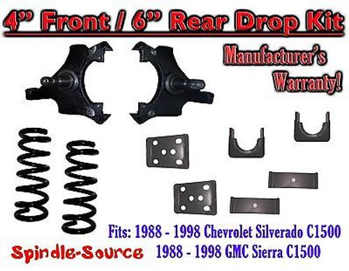 "1988 - 1998 Chevrolet GMC C1500 4"" front / 6"" rear Drop Lowering Kit 4/6 88 - 98"