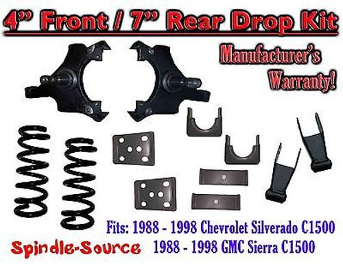 "1988 - 1998 Chevrolet GMC C1500 5"" front / 7"" rear Drop Lowering Kit 5/7 88 - 98"