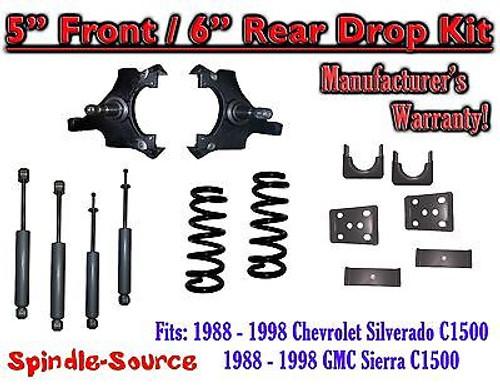"1988 - 1998 Chevrolet GMC C1500 5"" front 6"" rear Drop Lowering Kit 5/6 + SHOCKS"